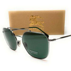 Burberry Green Tint Square 56mm Sunglasses